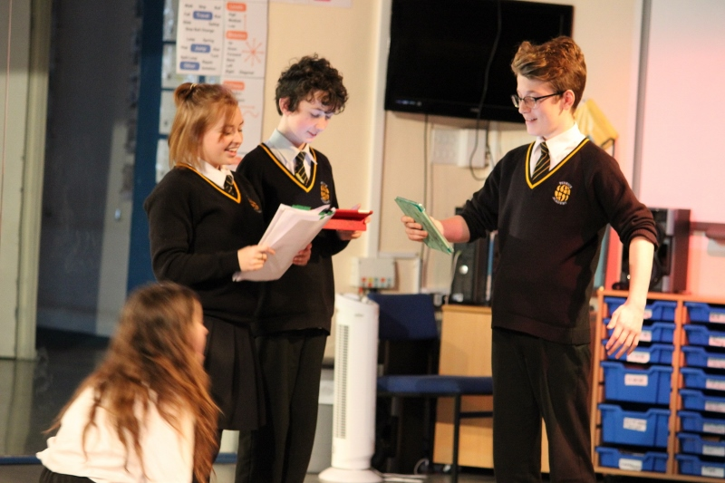 Students rehearsing for the Wizard of Oz