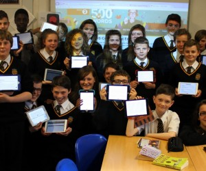 Students show their short story on their iPads