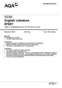 english literature aqa paper 1